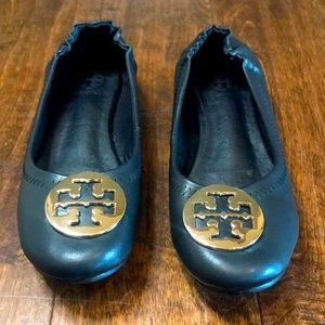 Tory Burch black leather ballet flats, size 9